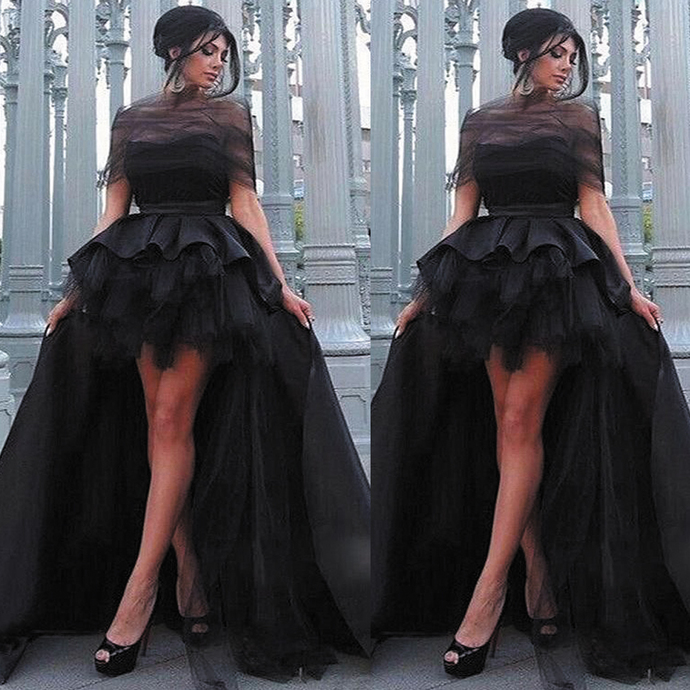 high low prom dresses ball gown black 2021 vintage elegant cheap prom gown