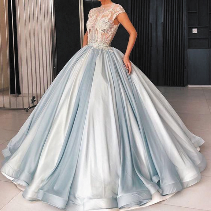 blue ball gown prom dresses 2021 cap sleeve lace appliqué beaded luxury elegant