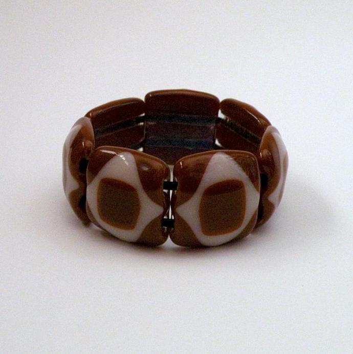 Handmade Wearable Art Glass Bracelet, Cinnamon and Cream