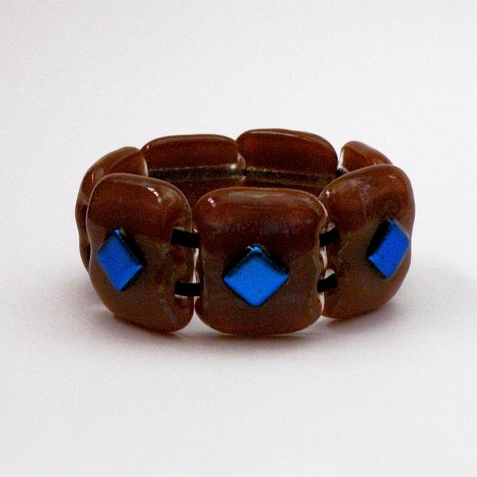Wearable Handmade Art Glass Bracelet, Sparkly Cinnamon and CobaltI