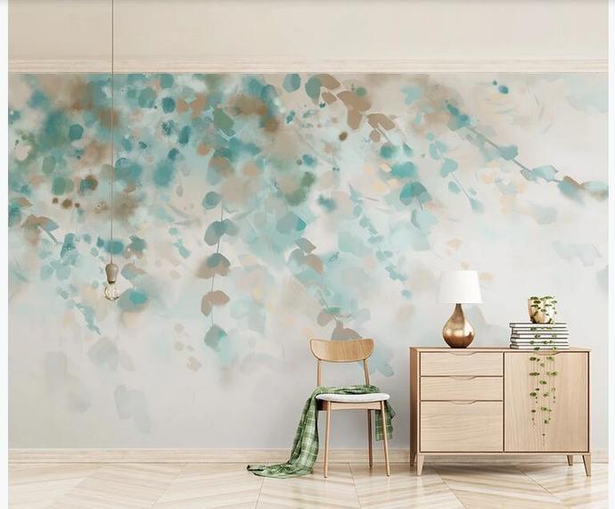 Custom Wall Murals Wallpaper Watercolor Hanging Leaves Ratten Mural Art Living