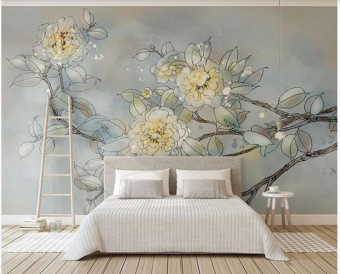 Custom Wall Murals Wallpaper Watercolor Hanging Flowers Big Flowers Floral Mural