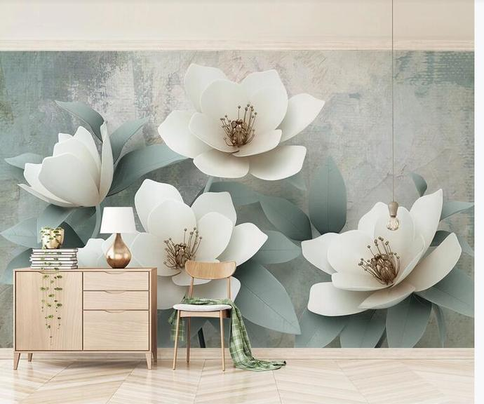 Custom Big Lily Flower Photo Wallpaper for Living Room Background 3D Mural Wall