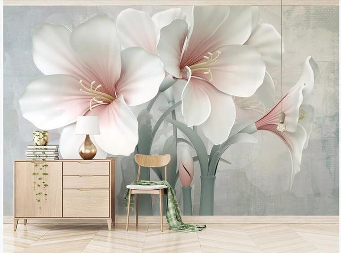Custom Pink Lily Flower Photo Wallpaper for Living Room Background 3D Mural Wall