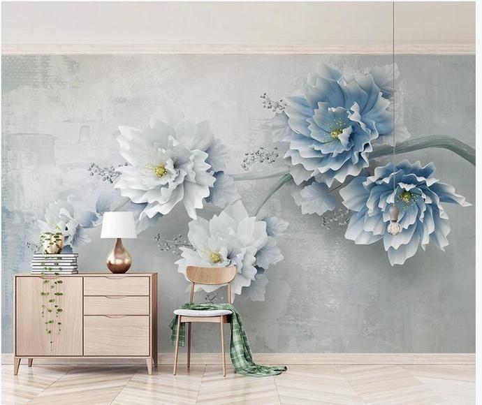 Custom Blue Flower Floral Photo Wallpaper for Living Room Background 3D Mural