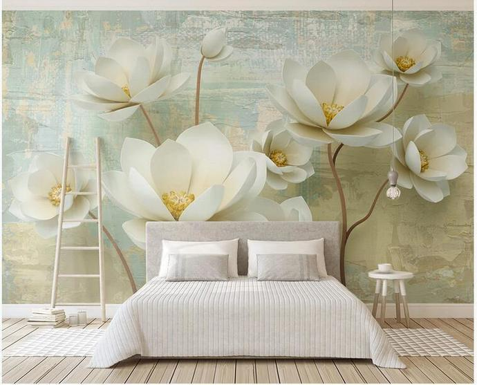 Custom Big Flowers Floral Photo Wallpaper for Living Room Background 3D Mural