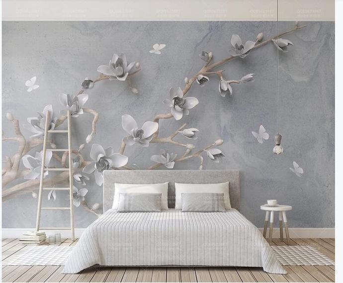 Custom Hanging Magnolia and Flying Butterflies Photo Wallpaper for Living Room