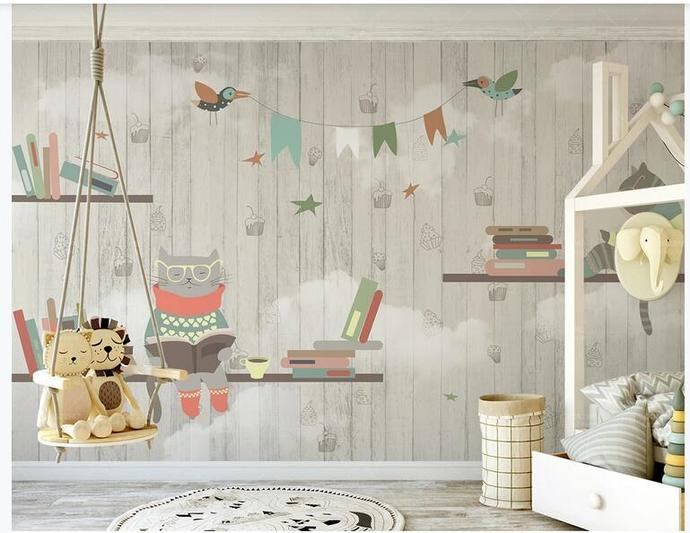 Lovely Cats and Lovely Animals Wood Kids' Room Babies' Room Wall Mural Wall