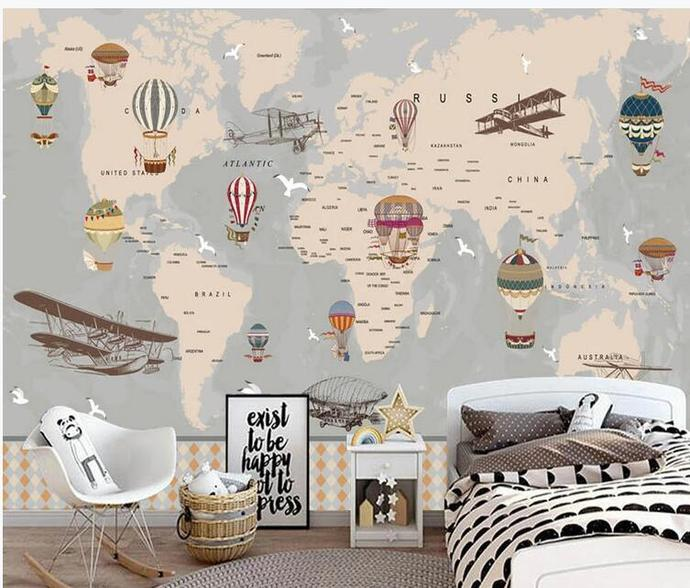 Cartoon Worldmap Hot-air Balloon and Airplanes Wallpaper Kids' Room Babies '