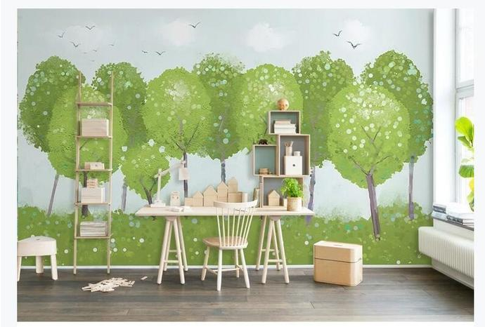 Cartoon Trees Forest with Flying Birds Wallpaper Kids' Room Babies ' Room Wall