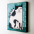 Black and White Mom and Kittens Original Cat Folk Art Painting