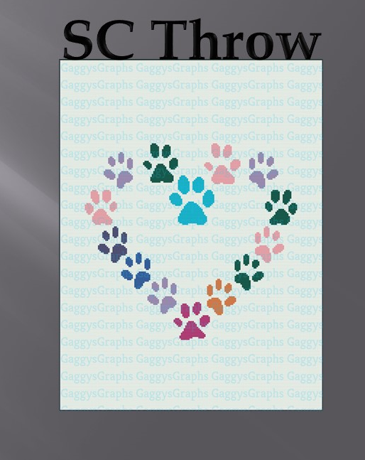 I heart Paws Stash Buster, SC Throw w/ graph+written block coded instructions