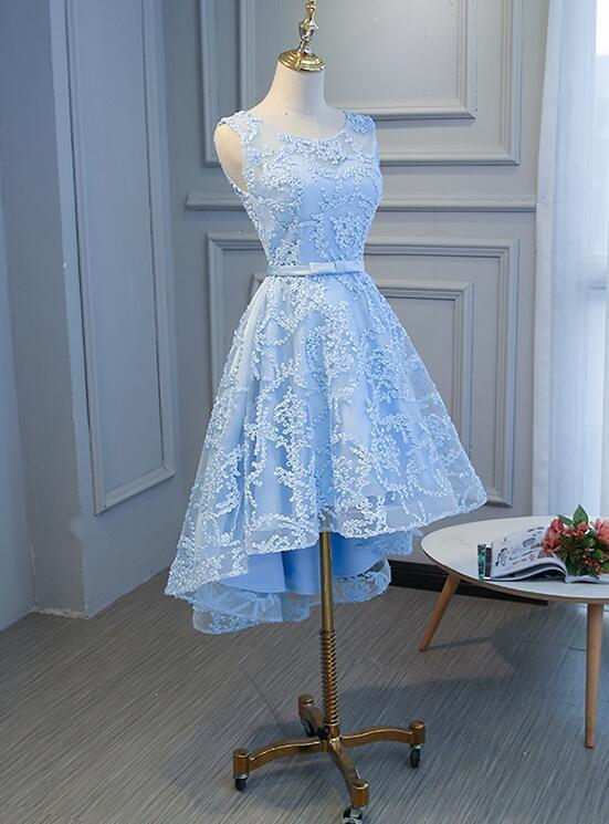 Cute Lace Round Neckline Homecoming Dress, Blue Short Prom Dress