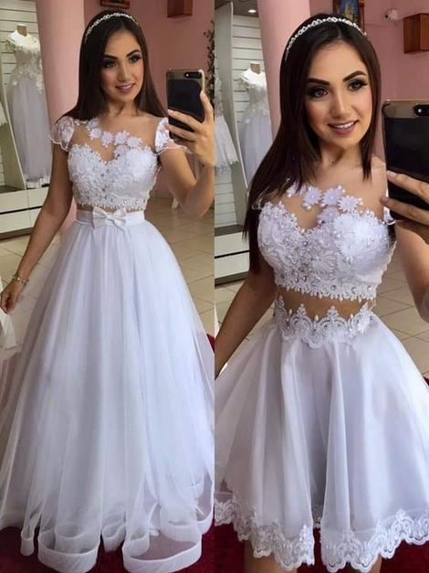 White a line prom Dresses With Lace,F1669