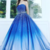 A Line Blue Strapless Sweetheart Ombre Sweep Train Ball Gown Beads Tulle Prom