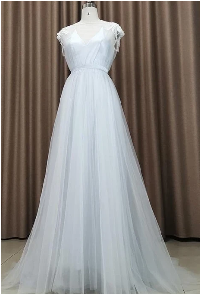 Beautiful Light Grey Tulle Long Party Dress, Light Grey Evening prom Gown ,F1680