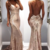 rose gold evening dresses long v neck mermaid sexy sparkly modest women evening