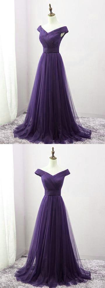 Beautiful Purple Long Bridesmaid Dress, Off Shoulder Prom Dress 2020