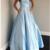 Elegant Blue Strapless Formal Prom Dress ,F1688