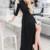 A-Line V-Neck 3/4 Sleeves Cold Shoulder Black Long Prom Dress with Split