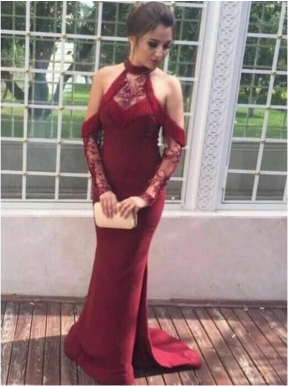 Mermaid Cold Shoulder Dark Red Prom Dress with Tassel Appliques,F1692