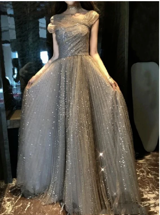 Off Shoulder Gold A Line Tulle Prom Dresses with Pleats,F1693
