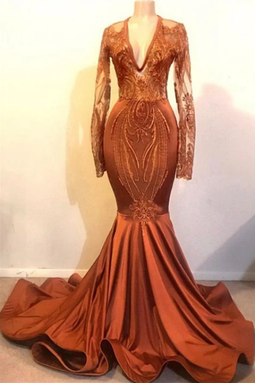 Classic Dust Orange Mermaid V-neck Long Sleeve Prom Dresses Cheap,F1694