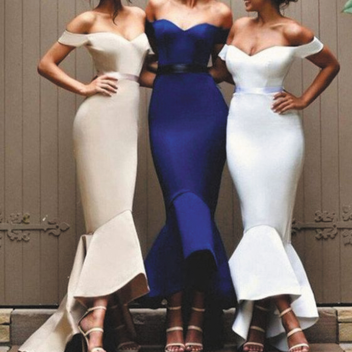 wedding party dresses 2020 mermaid off the shoulder cheap custom bridesmaid