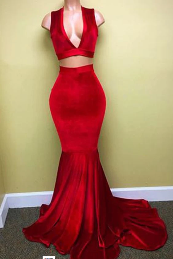 Long Two Piece Prom Dress, Red Evening Dress