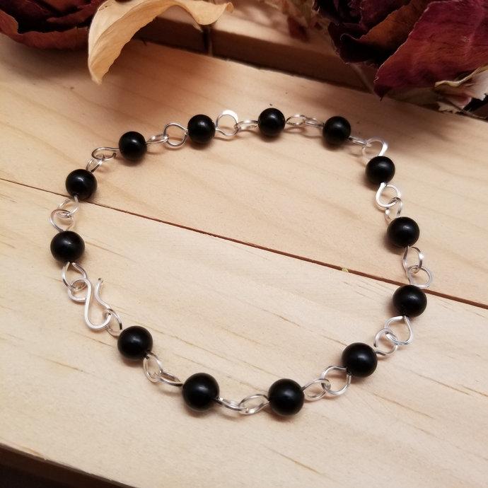Jet & Sterling Silver Chain Bracelet