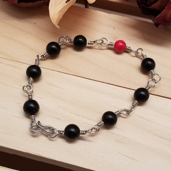 Jet Bead Chain Bracelet