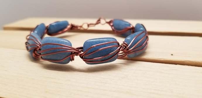 Copper Wire Blue Stone Bracelet