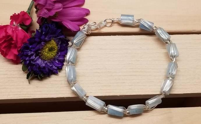 Wire Wrapped Aquamarine Bracelet
