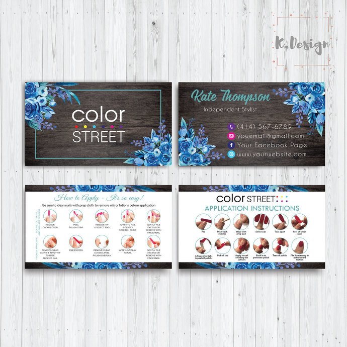 BLUE FLORAL COLOR STREET BUSINESS CARDS, PERSONALIZED COLOR STREET APPLICATION
