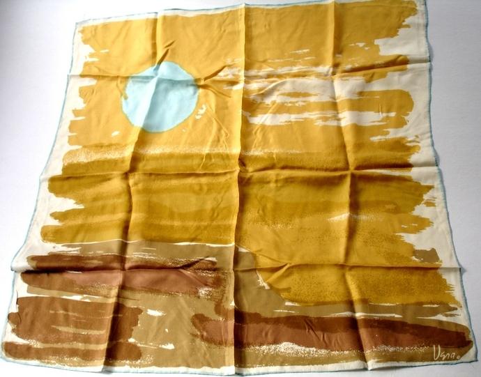 Vera Newmann Mod 1970s Once I A Blue Moon Seascape Silk Scarf