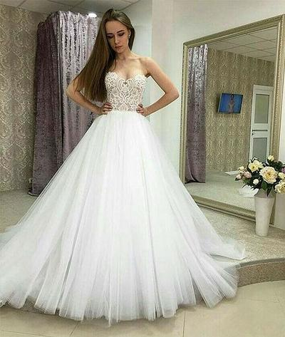 Sweetheart White Wedding Dress Bridal Gowns,F1755