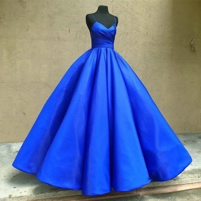 Spaghetti Straps Royal Blue Prom Dresses for Women,F1756