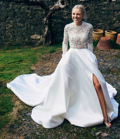 White Long Wedding Dress with Long Sleeves Appiques Flowers,F1758