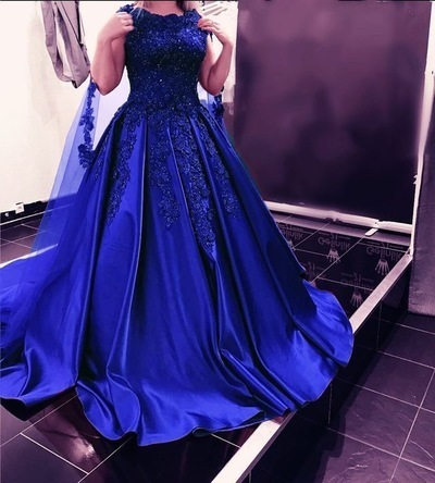 Royal Blue Prom Dresses with Appliques Pageant Gown,F1760