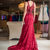 Dark Red Lace Mermaid Prom Dress with Lace UP,F1761