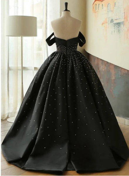 Unique black satin off shoulder long beaded prom dress with sleeve,prom