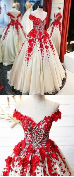 Red v neck tulle applique long prom dress, red evening dress,F1770