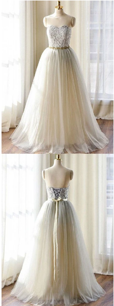 Gray lace tulle long prom dress, lace evening dresses,prom dress,F1779
