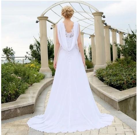 Charming V neck Wedding Dresses Zipper Back A-line Bridal Dress, Applique