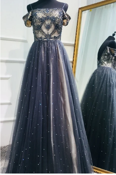 DARK BLUE TULLE SEQUIN BEADS LONG PROM DRESS, TULLE EVENING DRESS,F1783