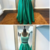 Two Piece Scoop Floor-Length Green Satin Beaded Prom Dress,F1786