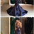 Mermaid Halter Sweep Train Satin Navy Blue Prom Dress with Lace,prom dress,F1787