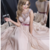 pearl pink prom dresses,Pearl Pink A-line Scoop Floor-length Chiffon Evening