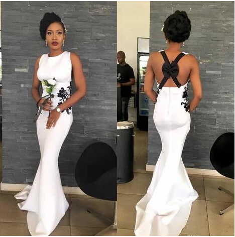 Sexy Backless Woth Bow Evening Party Gowns Black Girl Bridesmaid Wear Boho