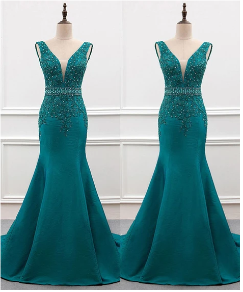 Charming Prom Dress,Appliques Prom Dress,Mermaid Dress,Satin Prom Dress,F1795
